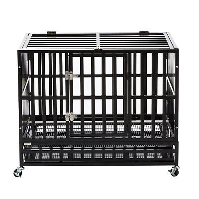 """37"""" Heavy Duty Metal Dog Crate Cage Square Tube Pet Kennel Playpen Wheels & Tray"""