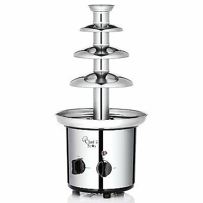 Chef's Star Electric 3-Tier Stainless Steel Chocolate Fountain, Silver