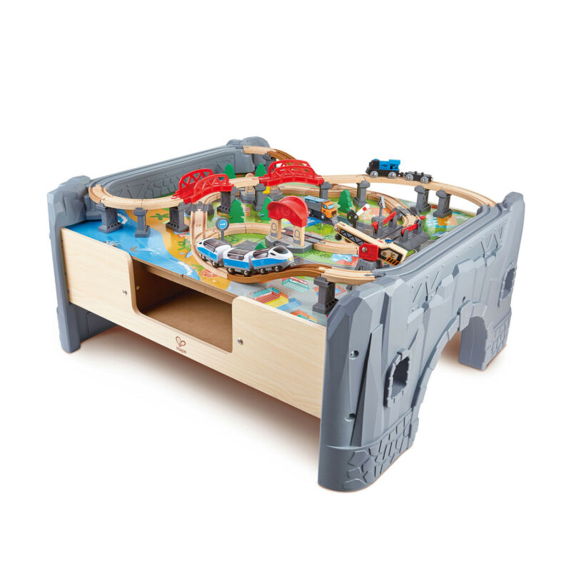 Hape 70 Piece Railway Train Set Table with Battery Powered Locomotive (Open Box)