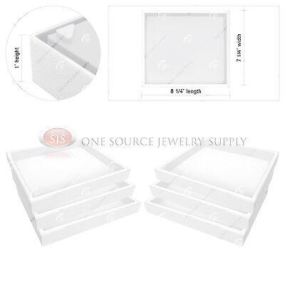 "6 Piece Stackable 1"" White Plastic Jewelry Display Half-Tray Storage Organizers"