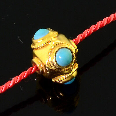 18k Solid Yellow Gold Fancy Old Turquoise Lantern Spacer Bead (1)