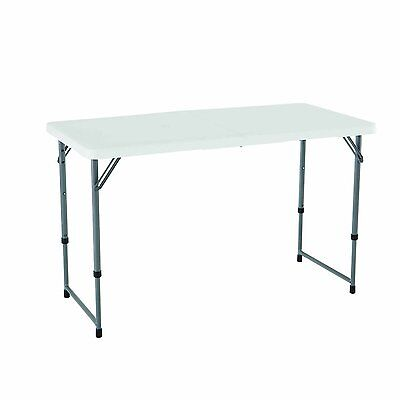 "Portable Adjustable Height Folding Utility Foldable Table Storage 48"" x 24"" NEW"
