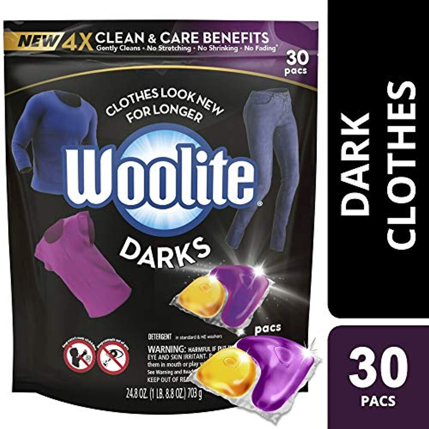 Woolite Darks Pacs,Laundry Detergent Pacs, 30 Count, for Standard and HE Washers Detergents, Softeners & Stain Removers