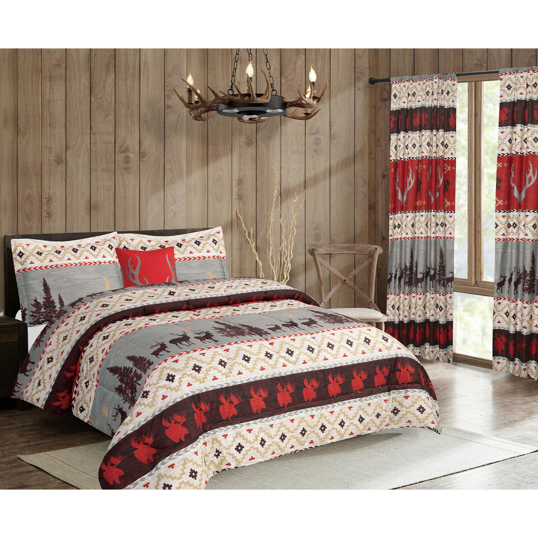 Twin, Full/Queen or King Antler Comforter Set or Curtains Rustic Deer, Red Brown Bedding