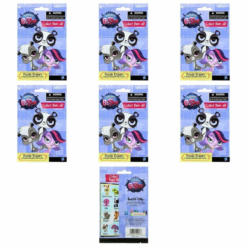 Bulls i Toy Littlest Pet Shop Puzzle Erasers 6 Sealed Packs