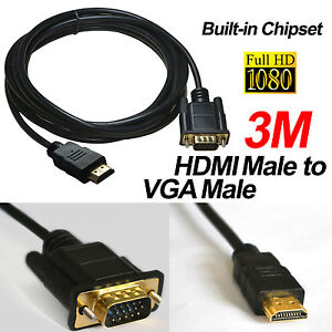 3M 10ft Gold HDMI Male to VGA HD-15 Male Converter Cable Lead 1080p for HDTV