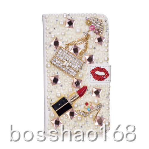 Magnetic Bling Luxury Diamonds Crystal PU Leather wallet flip Slots Cover Case F