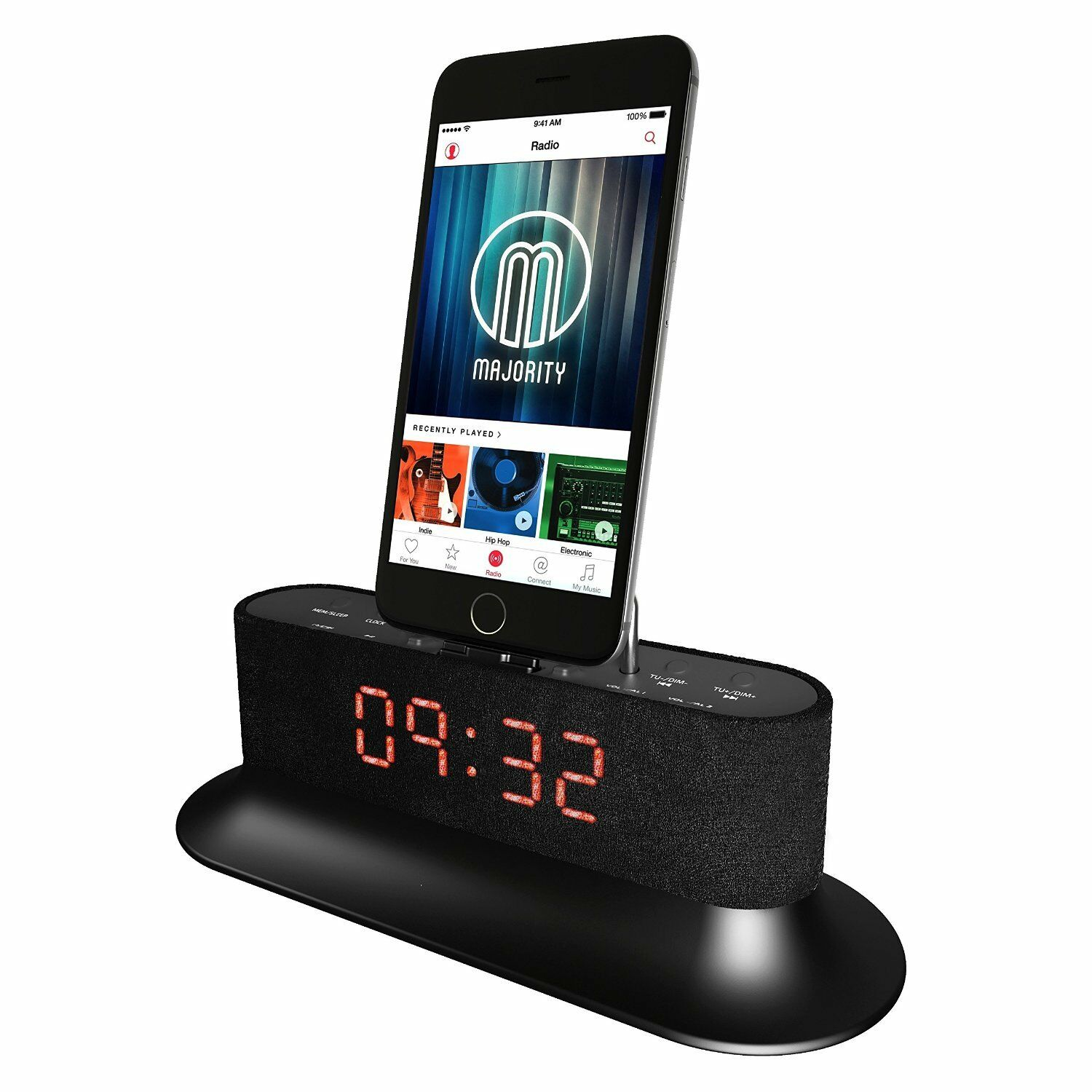 mercury docking station speaker dock alarm for ipod iphone 5 5s 5c 6 6 7 ebay. Black Bedroom Furniture Sets. Home Design Ideas