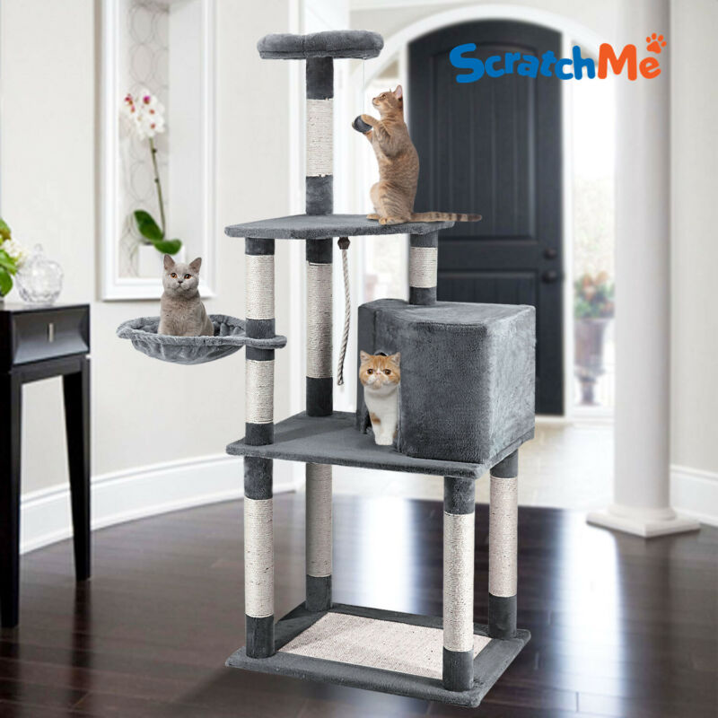 ScratchMe Cat Tree Tower Condo w/ Hammock Scratching Post & Perches for Big Cats