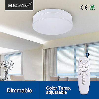 Elecwish 24W Smart LED Ceiling Flush Mount Light Wireless Remote Control Lamp US