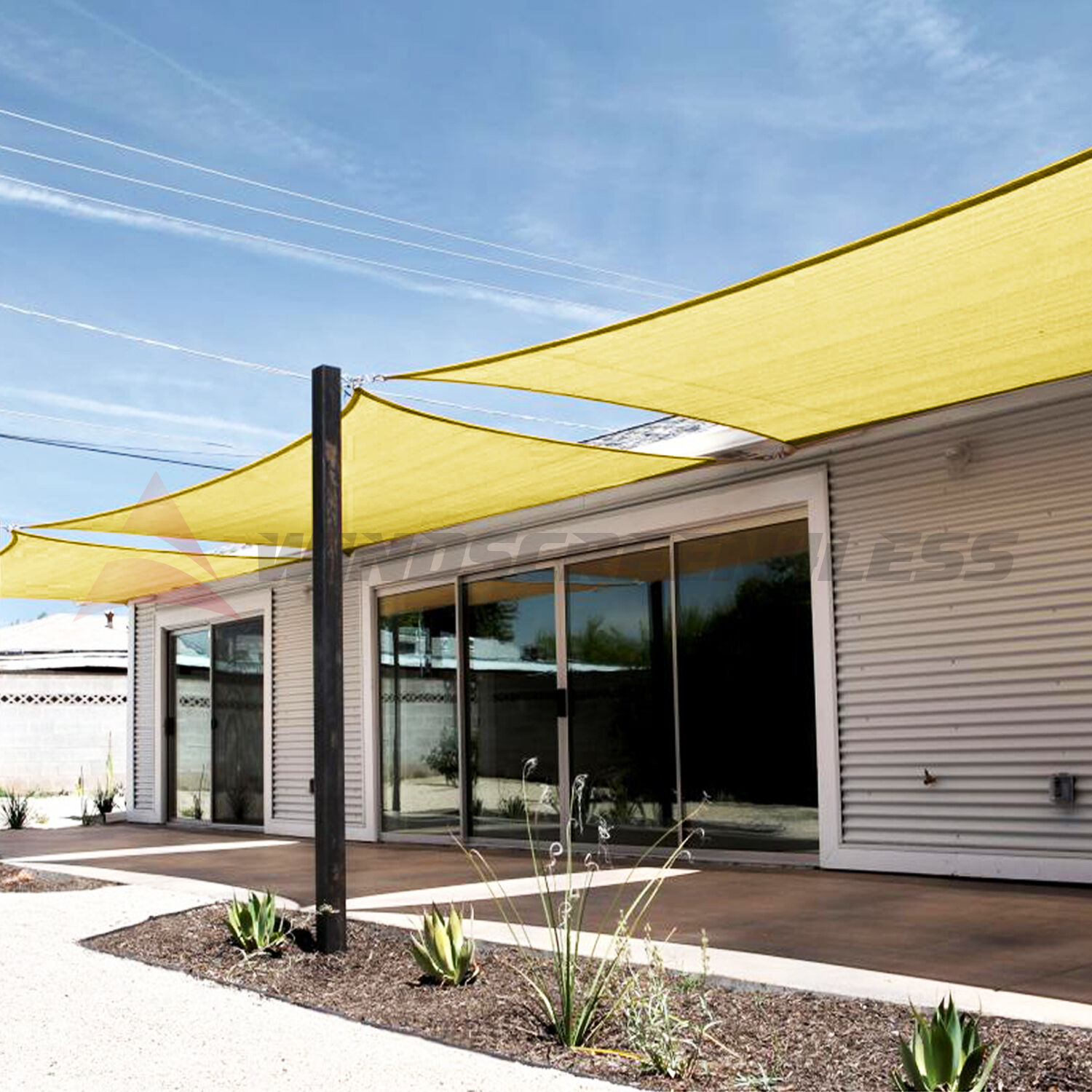 Details about Canary Yellow Square Rectangle Sun Shade Sail Fabric Patio Pool Canopy w/kit & Canary Yellow Square Rectangle Sun Shade Sail Fabric Patio Pool ...