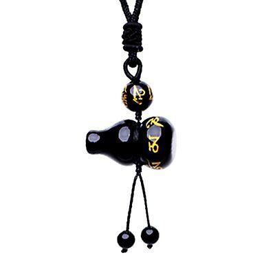 Feng Shui Obsidian Om Mani Padme Hum Wu Lou Hu Lu Gourd necklace pendant amulet