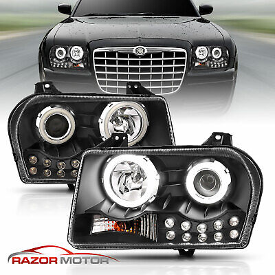 [Extreme LED Halo] 05-10 Chrysler 300 Black DRL Lamp Projector Headlights Signal