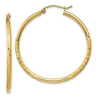 14k Yellow Gold Satin & Diamond-cut 2mm Round Tube Hoop Earrings. 35mm covid 19 (2mm Round Tube Hoop Earrings coronavirus)