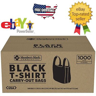 Members Mark Black Large Plastic T-shirt Carryout Bags 1000 Ct. Made In Usa