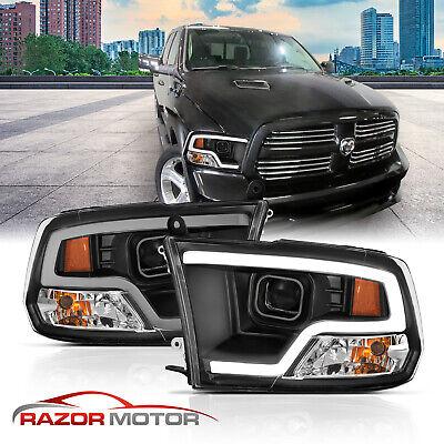[LED Tube] For 2009-2018 Dodge Ram 1500 2500 3500 Black Projector Headlights