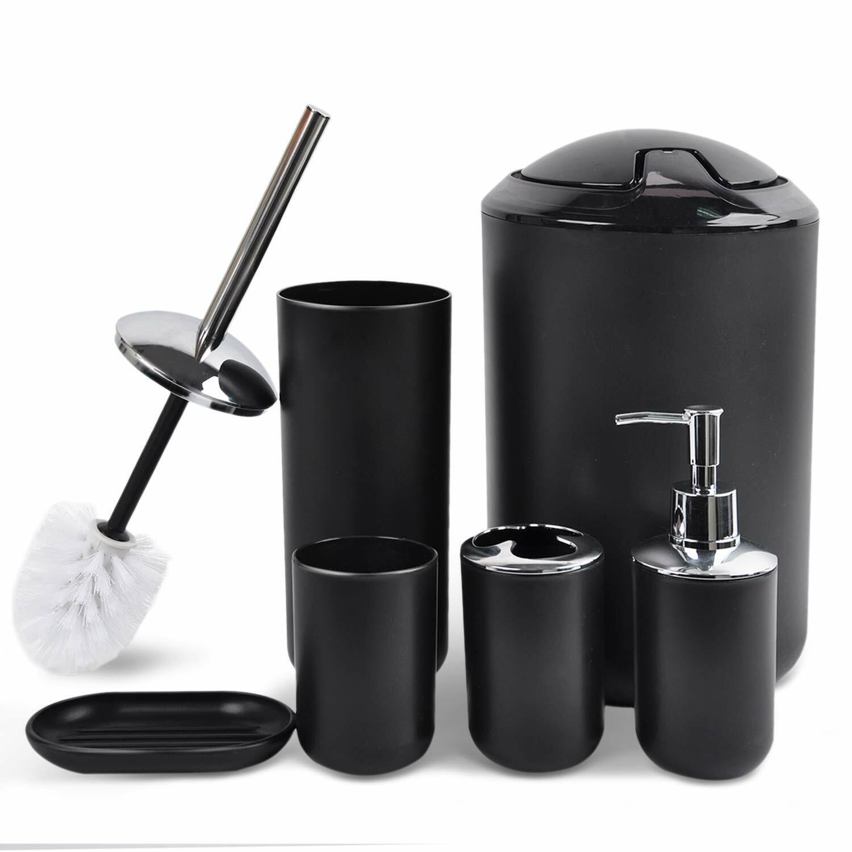 black bathroom accessories set 6 piece bath
