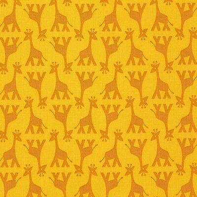 Fabric Giraffe's on Yellow Cotton by the 1/4 yard BIN