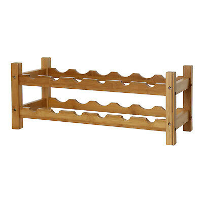 2 Tier 12 Bottles Bamboo Wine Rack Display Storage Stand Shelf Holder Home Bar 2 Bottle Wine Holder