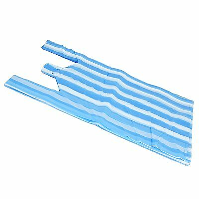 100 x MEDIUM BLUE/WHITE CANDY STRIPE Plastic Vest Carrier Bags 10
