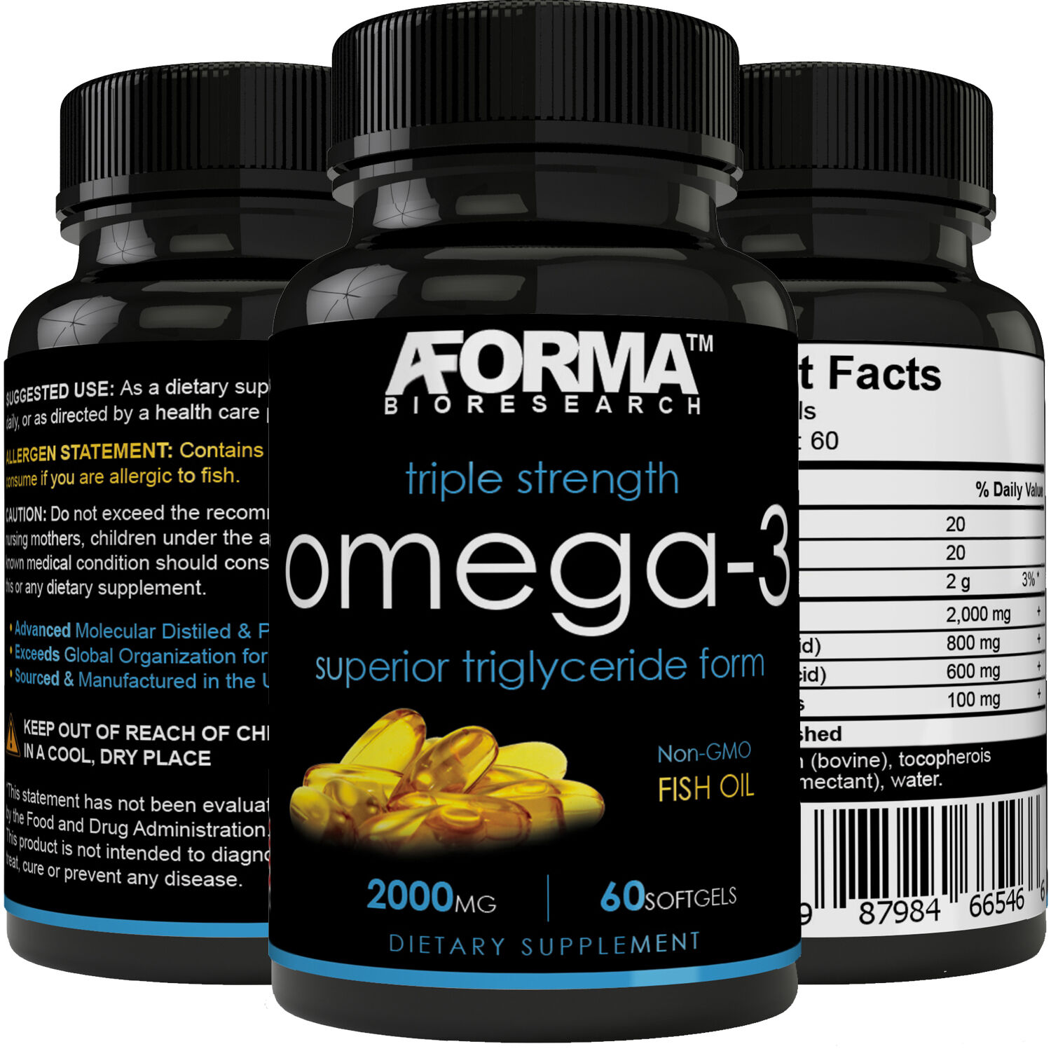 Ultra Fish Oil Omega-3 2000mg Supplement /w 800 EPA + 600 DH