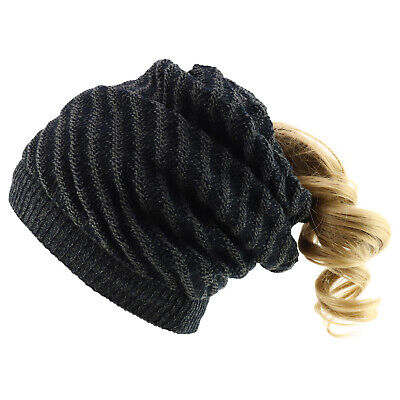 Women's Patterned Knit Slouchy Long Reversible Ponytail - FREE SHIPPING