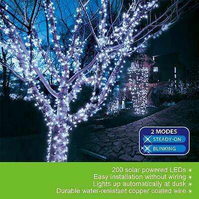 72ft 200 LED Outdoor Indoor Cool White Solar String Christmas Fairy Party Lights ()