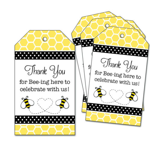 25 Bumble Bee Favor Tags for Wedding, Baby Shower - Thank You for Bee-ing Here
