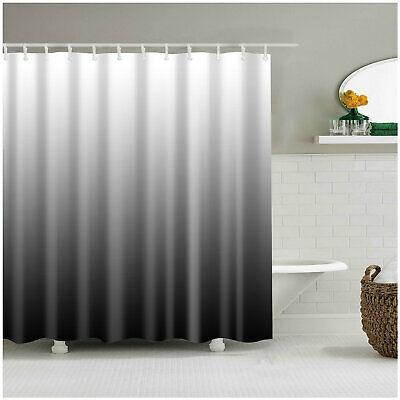 Shower Curtain Decor Ombre Colorful Design Black Gray Bath Curtains + 12 Hooks ()