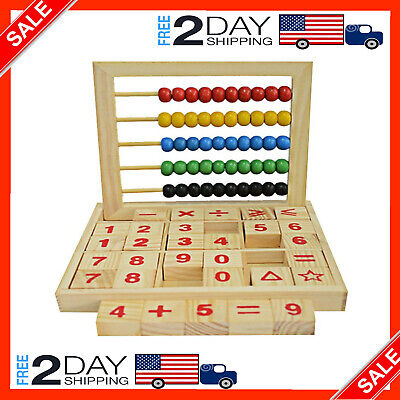 Wooden Abacus Children Kids Counting Number Maths Learning Toy Natural Materials