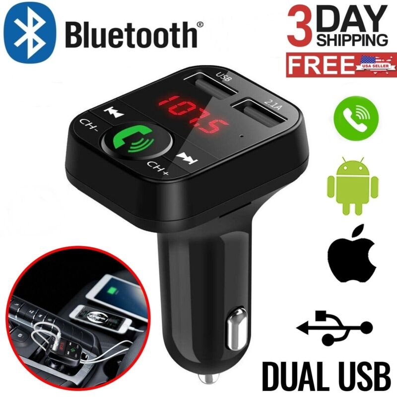In Car Bluetooth FM Transmitter Radio MP3 Wireless Adapter Car Kit USB Charger 2