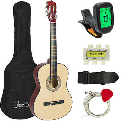 38''IN BEGINNER ACOUSTIC GUITAR BUNDLE KIT W/CASE STRAP DIGITAL ETUNER PICK PITC
