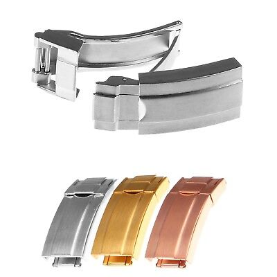 StrapsCo Stainless Steel Deployment Clasp for Watch Band Strap Buckle 16mm ()