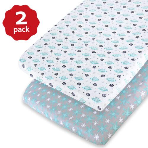 """Pack N Play Playard Sheets Lovely Print Mini Crib Sheets 2 Pack 27""""x39"""""""