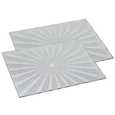 Set of 2 Sunburst Silver Glitter Mirror Placemats Dining Table Mat Place Mats