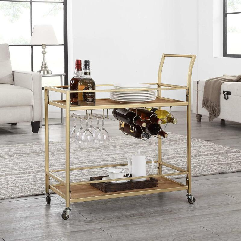 2 Tiers Bar Serving Cart W/ Wine Rack & Glass Holder Storage Wheeled Metal Frame