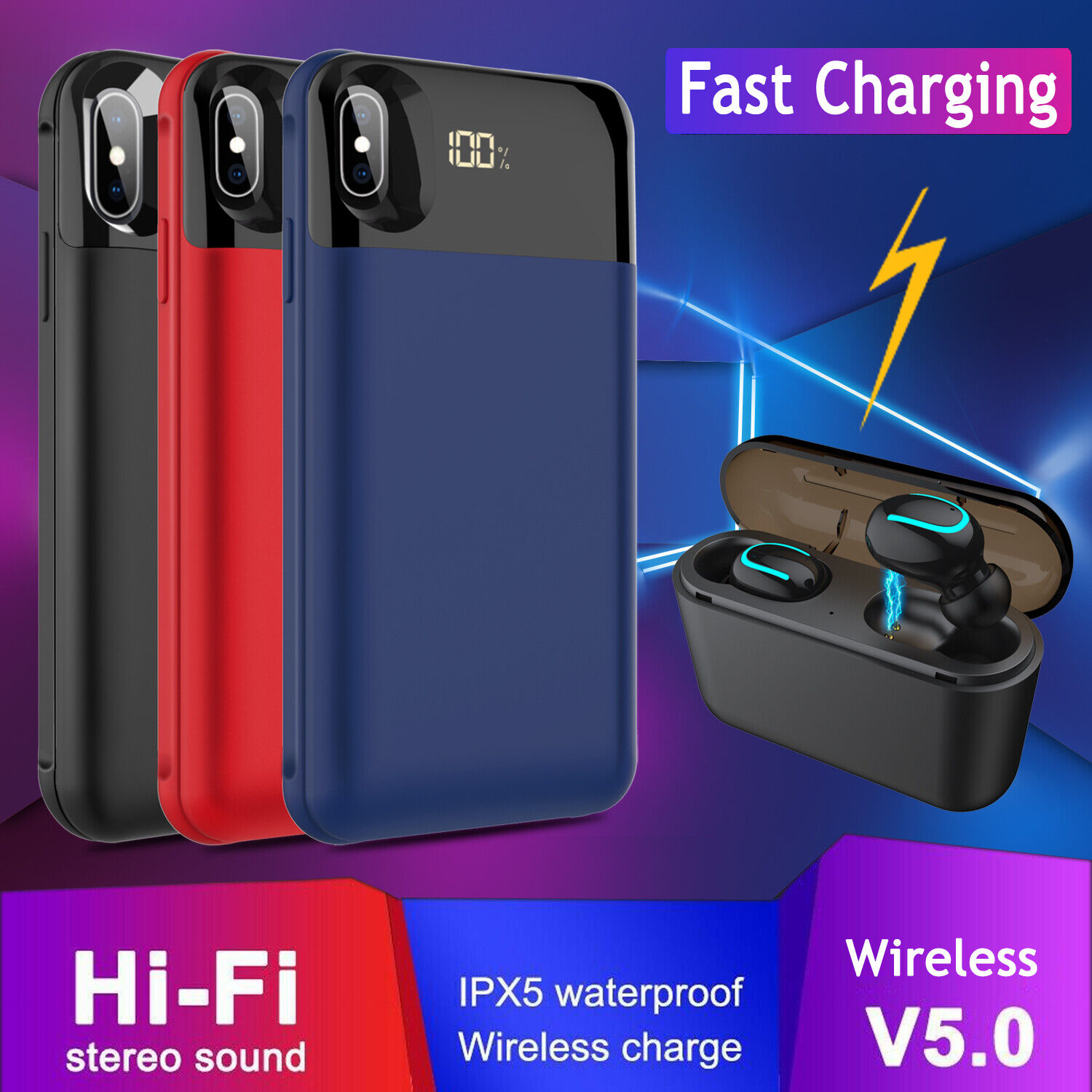 For iPhone X/XR/XS Max Qi Wireless Battery Case Charger Powe