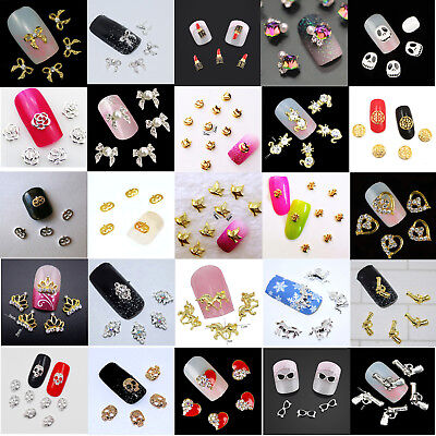 5 x New 3D Nail Art Charms Decoration, Halloween, Flowers, Crowns, Hearts, UK - Halloween Decoration Art