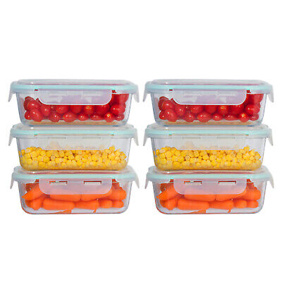 6 Pack 35 oz. Glass Meal Prep Food Storage Containers Oven Safe Portion Control