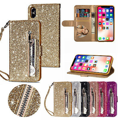 Leather Zipper Case - Glitter Bling Leather Zipper Wallet Card Case Cover for iPhone Xs Max/XR/X/7 8+
