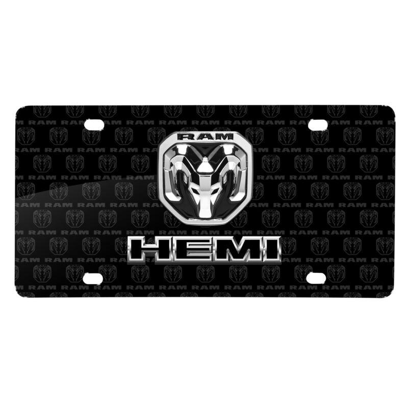 RAM HEMI Dual Logo 3D Logo on Logo Pattern Black Aluminum License Plate