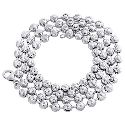 Real 10K White Gold Bead Moon Cut Link Solid Chain Necklace 5mm | 24 - 30 inches 10k White Gold Bead