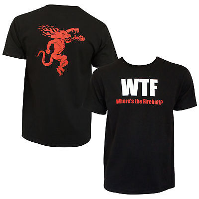 New funny Men's WTF Fireball Whiskey T-Shirt Black  ,, Size XL  2 sided printing
