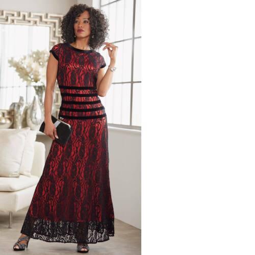 Ashro Black Red Lace Formal Varinella Gown Dress Cruise 8 10 12 14 16W 22W 26W