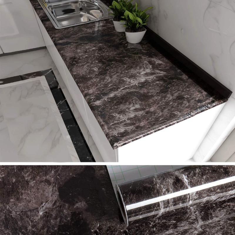 VEELIKE Black Marble Contact Paper Countertop Covers Peel an