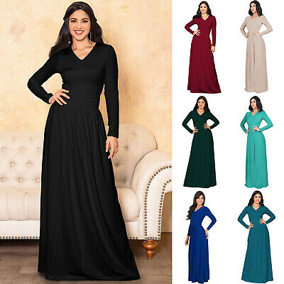KOH KOH Long Sleeve Fall Winter Casual Evening Dressy Warm Maxi Dress Gown Abaya
