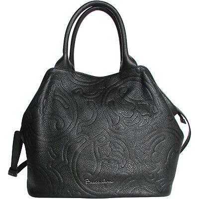 Embossed Fashion Tote - Braccialini fashion black leather Tote bag floral roses embossed Made in Italy