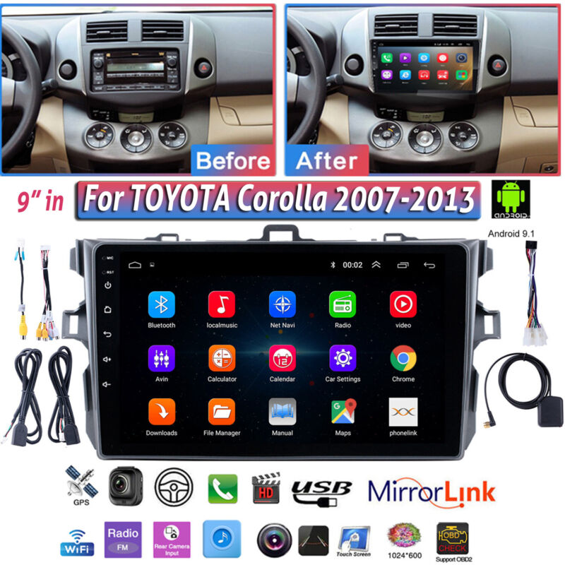 For Toyota Corolla 2007-13 GPS Navigation Android 9.1 Car Stereo Radio WIFI NAV