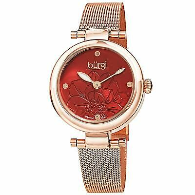 Burgi Diamond Accented Flower Dial Watch - 4 Diamond Hour Markers On SS