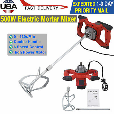 1500w 110v Electric Plaster Mortar Paint Cement Grout Mix Stirrer Paddle Mixer